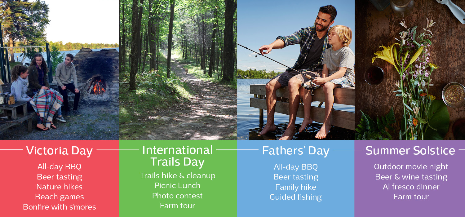 Four photos of people enjoying summertime fun and the words Victoria Day, International Trails Day, Fathers Day and Summer Solstice.