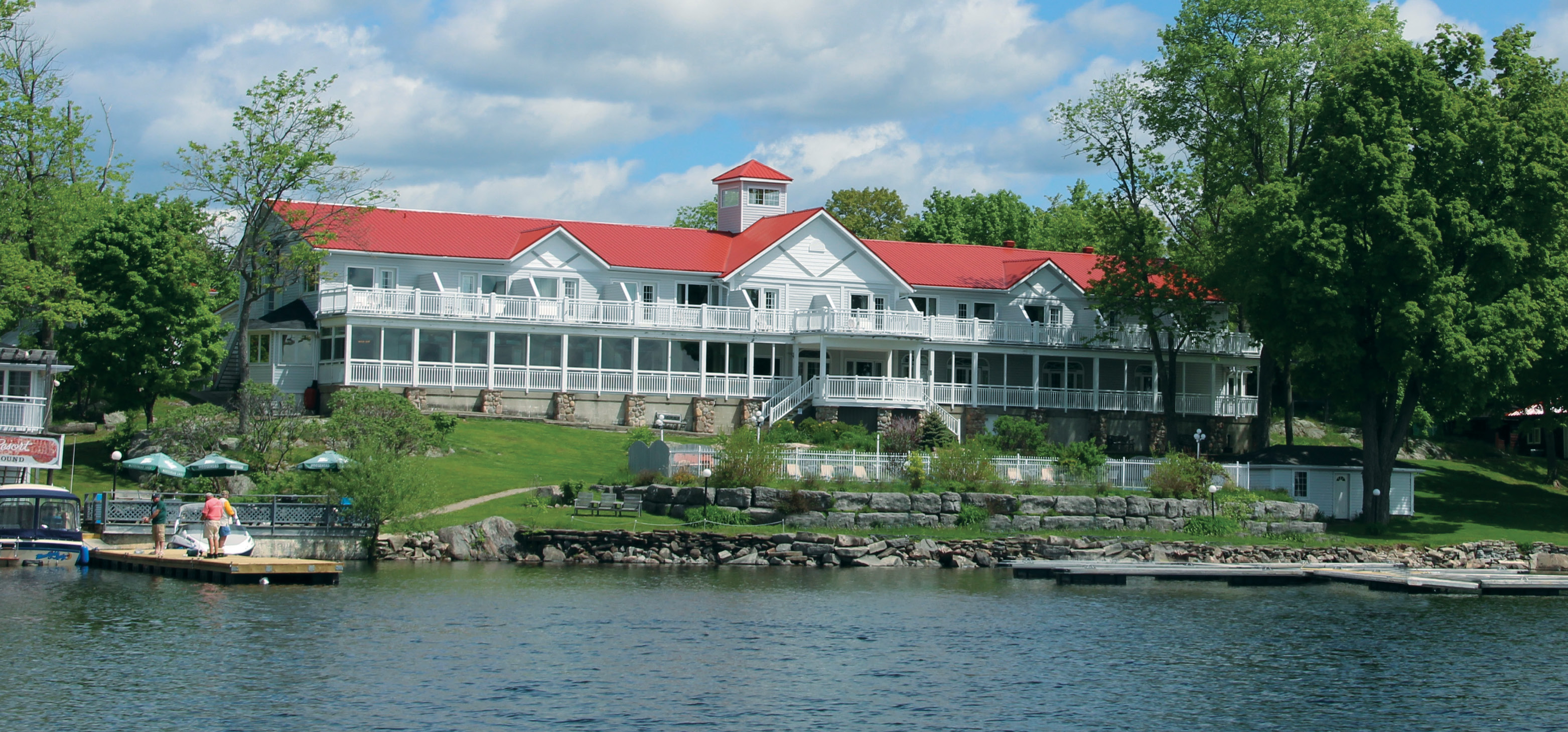 View of Viamede Resort main building from Stoney Lake, located in the Kawarthas