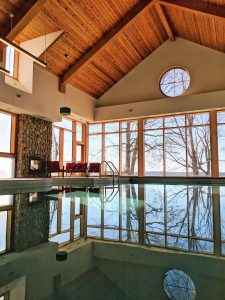 Indoor pool at Viamede Resort; Ontario resort in the Kawarthas