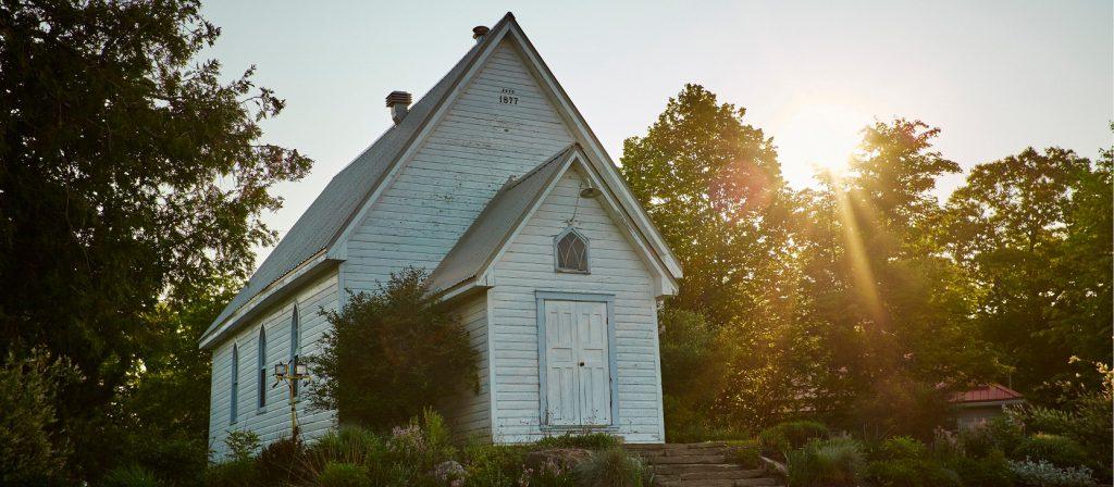 1800s chapel at Viamede Resort; Ontario resort in the Kawarthas