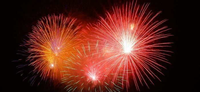 Image of fireworks. Family friendly events and activities in the Kawarthas for the Victoria Day long weekend in May.