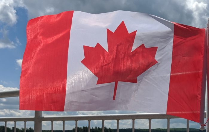 Canada Day flag; fireworks in the Kawarthas for Canada Day